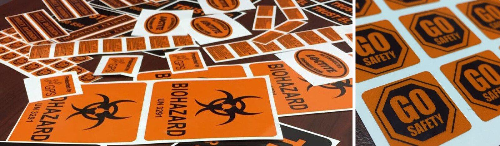Orange reflective vinyl labels printing